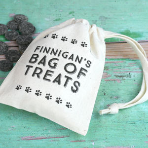 Personalised Dog Treat Bag With Choc Drops - food, feeding & treats