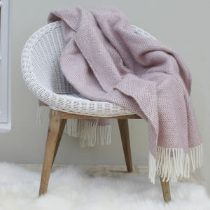 Dusky Pink Wool Knit Throw - bedroom