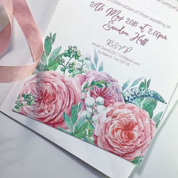 Lilac And Pink Rose Wedding Invitation