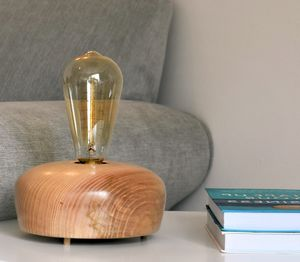 Dawlish Ash Wood Table Lamp With Edison Light Bulb - lighting