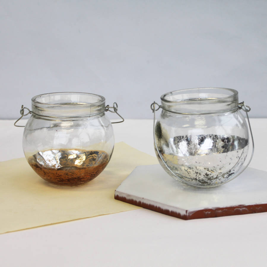 Copper And Gold Metallic Dipped Tea Light Holders