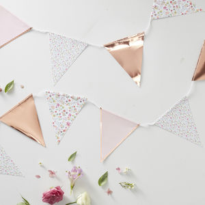 Pink Ditsy Floral Rose Gold Foiled Party Bunting