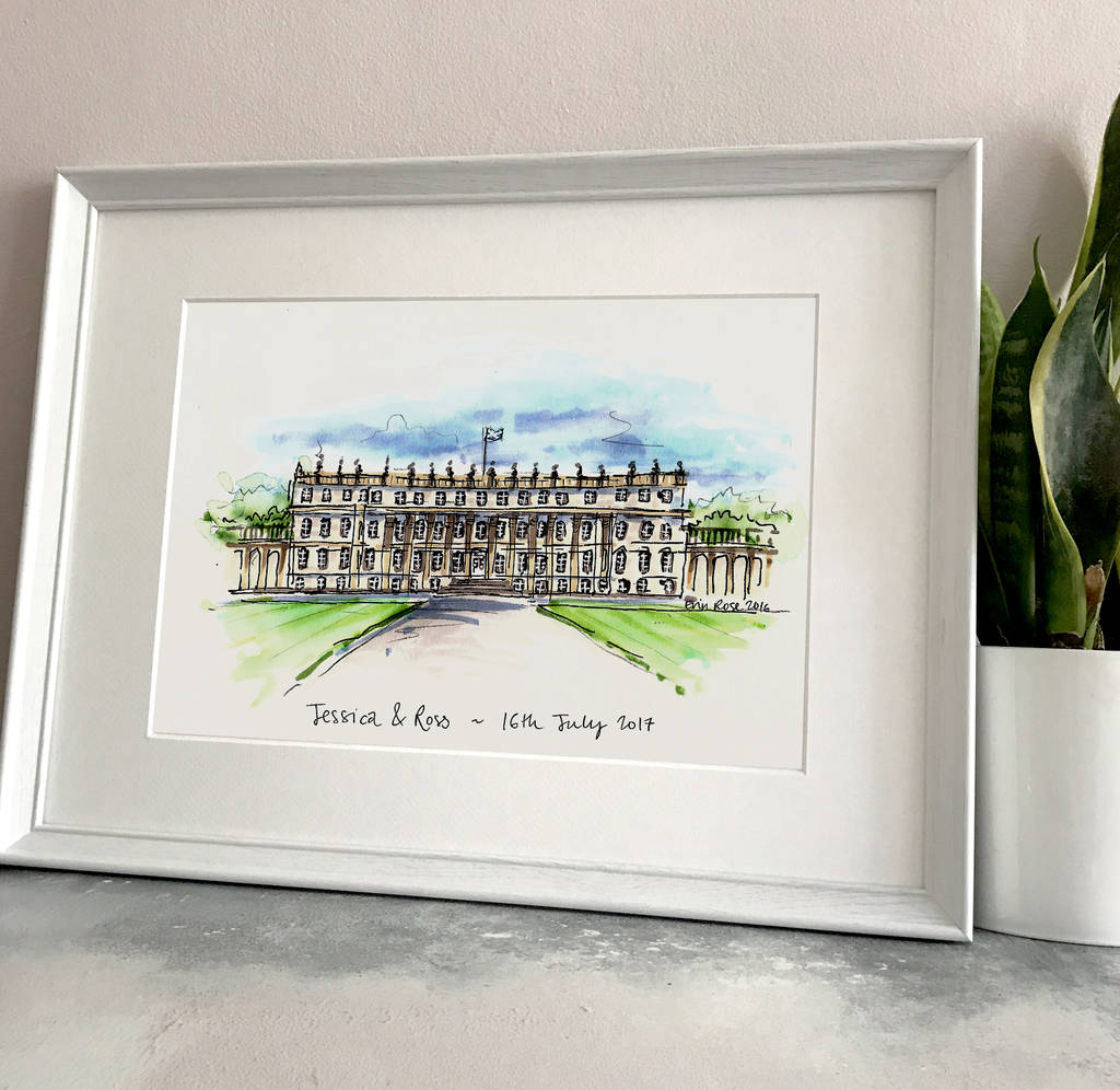 wedding destinations in new jersey%0A Personalised Wedding Venue Illustration