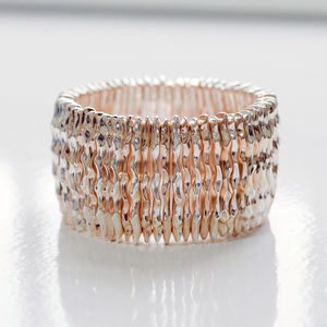 Rose Gold And Silver Hammered Stretch Bracelet
