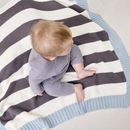 Personalised Mono Stripe Baby Blanket