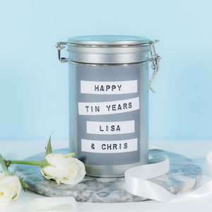 Personalised 10th Anniversary Coffee Gift Tin - coffee