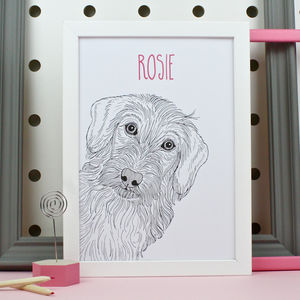 Personalised Wire Haired Dachshund Portrait Print - pet portraits