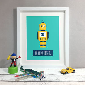 Personalised Robot Name Nursery Kids Print