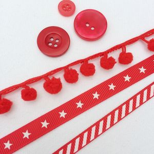 Candy Stripes, Stars And Pom Pom Ribbon