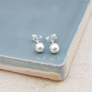 Classic Sterling Silver Ball Studs - children's jewellery