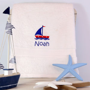 Kids Personalised Sailing Boat Bath Towel - bathtime