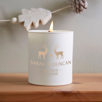 Engagement Gift Personalised Christmas Candle Keepsake