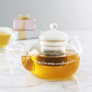 Personalised Glass Teapot For Mum
