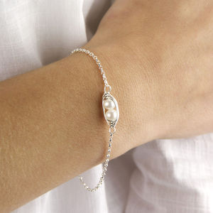 Sterling Silver And Pearl Peapod Bracelet