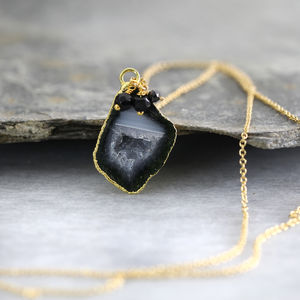 Black Geode And Diamond Necklace