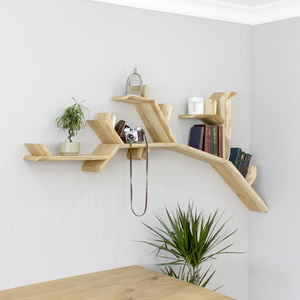 Handmade Oak Tree Branch Wall Shelf - shelves