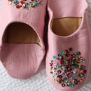 Girl's Handmade Leather Slippers With Sequins