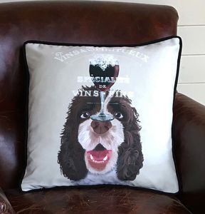 Springer Spaniel Cushion, Dog Au Vin Wine Gift