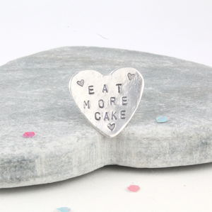 Silver Eat More Cake Pin Badge - pins & brooches