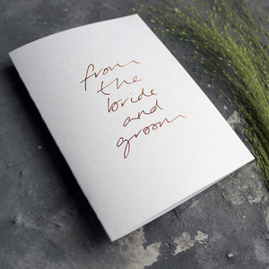 'From The Bride And Groom' Wedding Thank You Card
