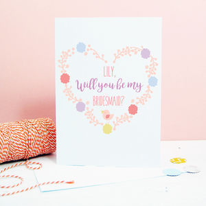 Personalised 'Will You Be My Bridesmaid' Wedding Card
