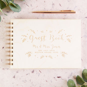 Calligraphy Botanical Wooden Guest Book