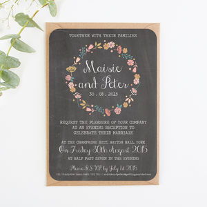 Floral Chalkboard Evening Invite - invitations