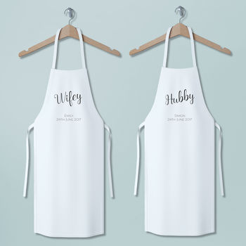 Personalised Wifey And Hubby Apron Set