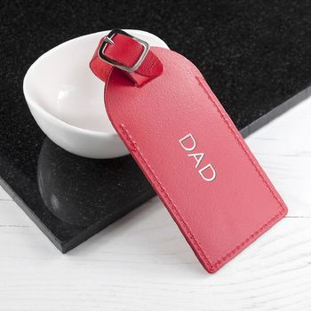 Red Personalised Foiled Leather Luggage Tag