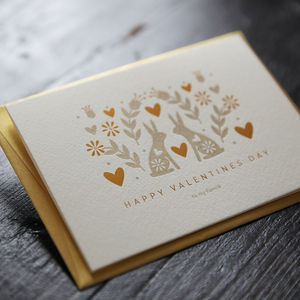 Letterpress And Hot Foil Rabbit Love Valentines Card