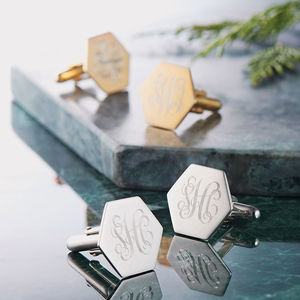 Silver Gilt Hexagon Cufflinks With Monogram - gifts for him