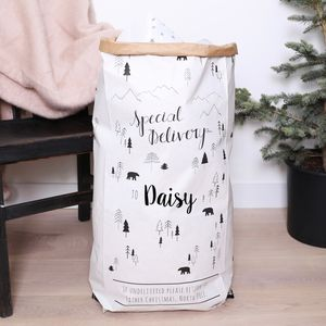 Personalised Special Delivery Christmas Sack - monochrome christmas