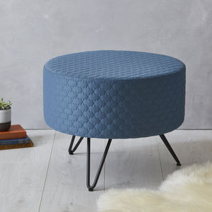 Blue Round Mid Century Footstool With Metal Legs - dining room