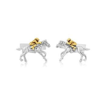 Horse And Jockey Cufflinks In Silver And Gold