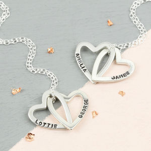 Personalised Interlocking Hearts Pendant Necklace - 50th birthday gifts