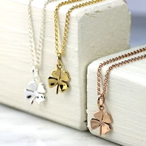 Lucky Silver Or Gold Four Leaf Clover Necklace