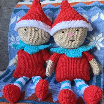 Christmas Elf And Baubles Knitting Pattern Set