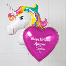 Inflated Personalised Rainbow Unicorn Foil Bunch