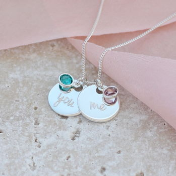 Sterling Silver You And Me Birthstone Charm Necklace