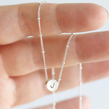 Personalised Sterling Silver Circle Bead Necklace
