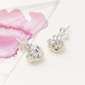 Eternal Friendship Knot Silver Stud Earrings