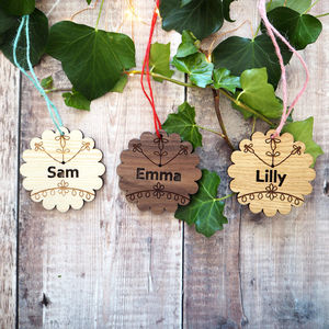 Personalised Scandi Cookie Wooden Christmas Bauble