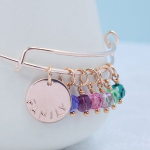 Rose Gold Family Birthstone Charm Bangle