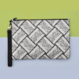 Tile Print Leather Clutch Bag