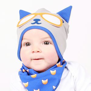 Boy's Kitty Cat Hat Tiger Blue - babies' hats