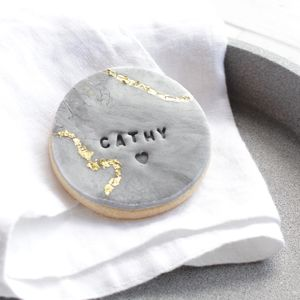 Marble Gold Leaf Personalised Biscuits - wedding favours