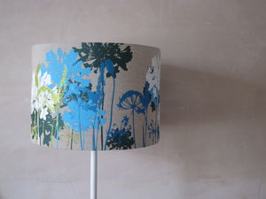 Floral Screen Printed Linen Lampshade - lighting