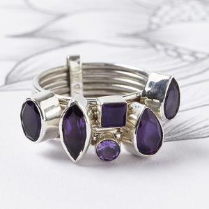 20% Off Amethyst Silver Stacking Ring - february birthstone