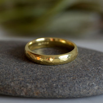 Hammered Effect Wedding Band In 18ct Yellow Gold