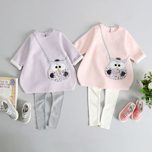 Owl Handbag Pocket Tunic And Polka Lined Legging Set